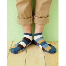 英式格紋船短襪-藍色