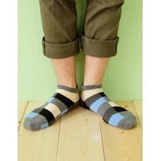 英式格紋船短襪-灰色