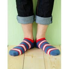 雙色條紋船短襪-藍色