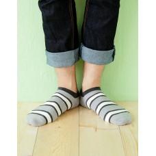 雙色條紋船短襪-灰色