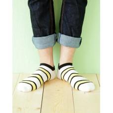 雙色條紋船短襪-米白