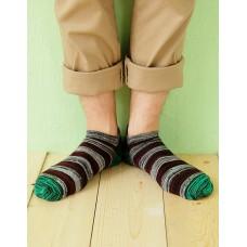 混搭條紋船短襪-綠頭