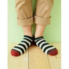 混搭條紋船短襪-紅頭
