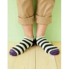 混搭條紋船短襪-紫頭