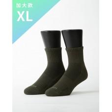 素色美學氣墊運動襪-軍綠-XL加大款