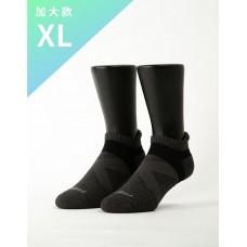 暖陽麻花輕壓力足弓船短襪-黑色-XL加大款