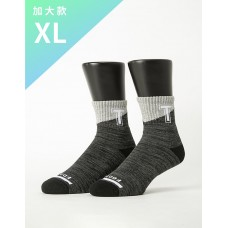 字母撞色花紗氣墊襪-黑色-XL