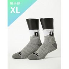 字母撞色花紗氣墊襪-灰色-XL