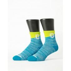 字母撞色花紗氣墊襪-淺藍