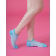 線條拼色輕壓力船短襪-藍色