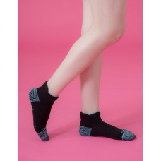 隨性塗鴉感輕壓力船短襪-黑色