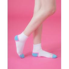 局部撞色輕壓力襪-白色
