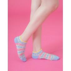 波西米亞微分子船短襪-藍色