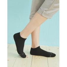 單色運動逆氣流氣墊船短襪-黑色