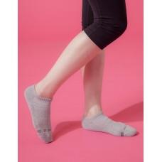 單色運動逆氣流氣墊船短襪-淺灰