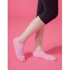 單色運動逆氣流氣墊船短襪-粉紅