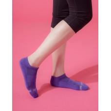 單色運動逆氣流氣墊船短襪-紫色
