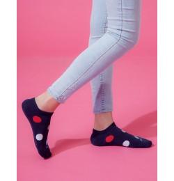 圓點氣泡微分子船短襪-藍色