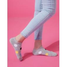 圓點氣泡微分子船短襪-灰色