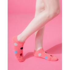 圓點氣泡微分子船短襪-桃紅
