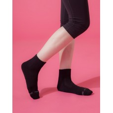 素面運動逆氣流氣墊襪-黑色