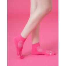 素面運動逆氣流氣墊襪-桃紅