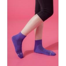 素面運動逆氣流氣墊襪-紫色