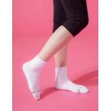 素面運動逆氣流氣墊襪-白色