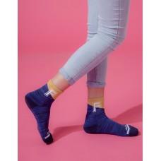 字母撞色花紗氣墊襪-深藍
