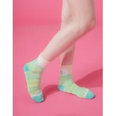 字母撞色花紗氣墊襪-粉綠