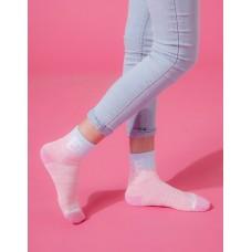 字母撞色花紗氣墊襪-粉紅