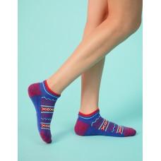 民族風格氣墊船短襪-藍