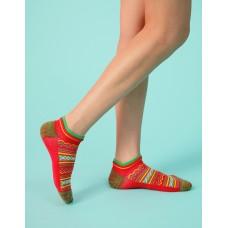 民族風格氣墊船短襪-紅色