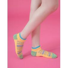 民族風格氣墊船短襪-黃色