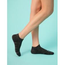 麻花拼色氣墊船短襪-黑色