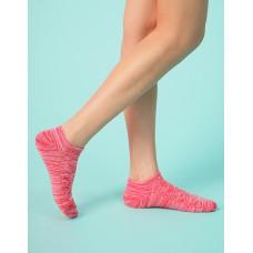 麻花拼色氣墊船短襪-紅色