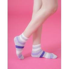 條紋甜心運動氣墊襪-紫色