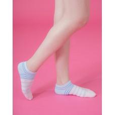 甜美叛逆運動船短襪-藍邊