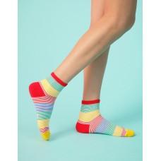 五色彩虹橫條襪-彩色