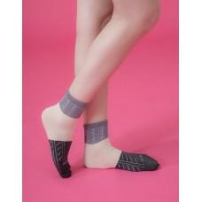 日式榻榻米長薄襪-灰邊