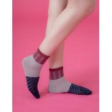 日式榻榻米長薄襪-磚紅邊