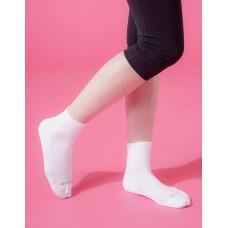 復古直線條微分子長薄襪-白色