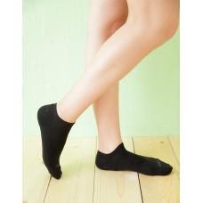 微分子氣墊單色船型薄襪-黑色