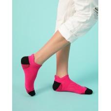 個性皺褶微分子氣墊襪-桃紅