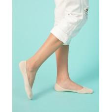 單色超低矽膠船短隱形襪-米白