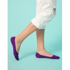 單色超低矽膠船短隱形襪-紫色