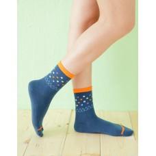 摩登方格點點長薄襪-藍色