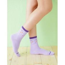 摩登方格點點長薄襪-紫色
