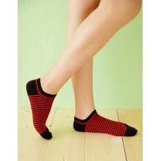 繽紛條紋船型薄襪-黑色