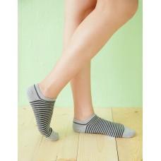 繽紛條紋船型薄襪-灰色